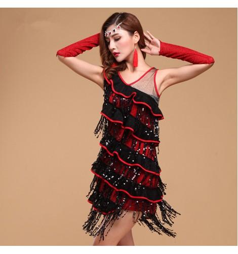 Black Red Royal Blue Hot Pink Fuchsia Sequins Ruffles Sleeveless