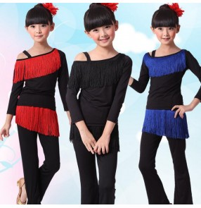 Black red royal blue patchwork fringes long sleeves girls kids children toddlers gymnastics performance competition latin dance dresses costumes outfits