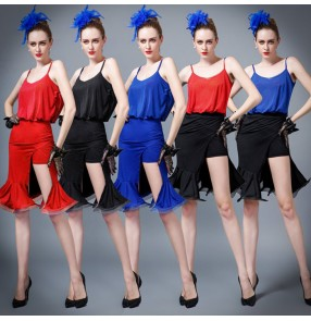 Black red royal blue patchwork strap backless spandex women's sexy fashion competition front split performance latin dance leotards dresses outfits