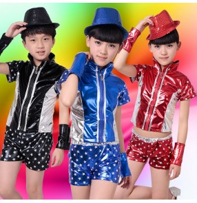 Black red  royal blue  star printed pu leather boys girls kids child children jazz kindergarten baby modern dance stage performance t show school play dance costumes clothes outfits