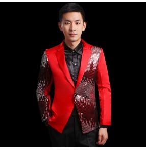 Black red sequins  paillette satin fabric patchwork long sleeves lapel collar men's male man stage performance wedding party singer host dance blazers tops coats