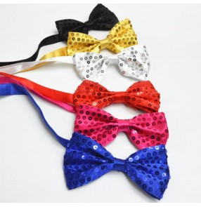 Black red silver gold royal blue purple women's boys men stage performance T show play jazz bowknot dance  sequins sequined adjustable neck bow ties bowtie