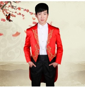 Black red white embroidery pattern men's male stage performance singer jazz wedding party host dancing tuxedo blazer and pants and shirt and bow tie dance costumes outfits