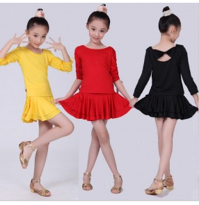 Black red yellow blue long sleeves spandex cotton girls kids children school play gymnastics practice competition performance latin salsa dance dresses outfits