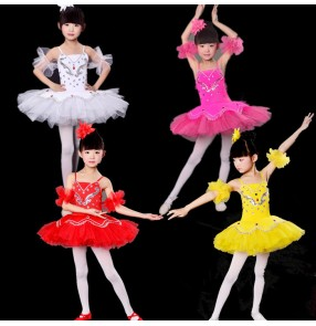 Black red yellow fuchsia hot pink white royal blue colored girls kids baby children performance school play swan lake ballet tutu  leotards skirts dance dresses costumes oufits