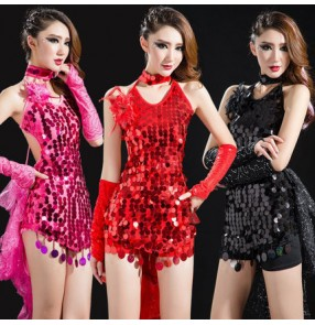 Black red yellow gold fuchsia hot pink blue turquoise sequins backless women's ladies girls female stage performance competition  latin salsa cha cha tuxedo pole dance club wear singer  jazz dance dresses outfits costumes
