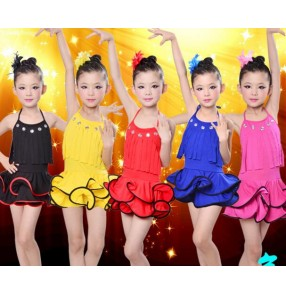Black red yellow royal blue fuchsia hot pink fringes backless halter spandex girls kids children performance competition latin salsa cha cha dance leotards dresses outfits