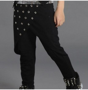 Black rivet harem cotton boys kids children baby fashion long length drummer stage performance jazz hip hop singer school play dance dancing pants trousers