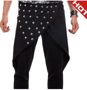 Black rivet man men male 's  long length fashion harem hip hop  drop crotch  baggy pants  punk rock youth stage performance jazz dancing dance pants trousers