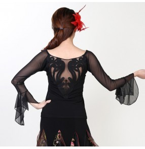 Black  round neck long sleeves women's ladies female competition performance professional ballroom dancing dance tango flamenco dance tops blouse