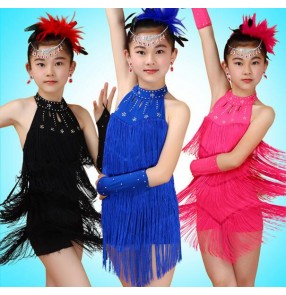 Black royal blue fuchsia hot pink backless rhinestone fringes halter neck girls kids children performance competition latin salsa cha cha dance dresses