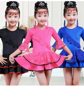 Black royal blue fuchsia hot pink long sleeves girls kids children performance gymnastics performance latin ballroom dance dresses skirts
