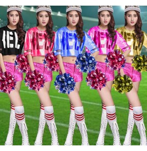 Black royal blue gold fuchsia patchwork split set girls women's ladies female performance jazz ds singer hip hop cheerleaders costumes outfits
