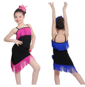 Black royal blue neon green fuchsia hot pink patchwork fringes inclined shoulder sleeveless girls kids children competition performance latin salsa cha cha dance dresses set