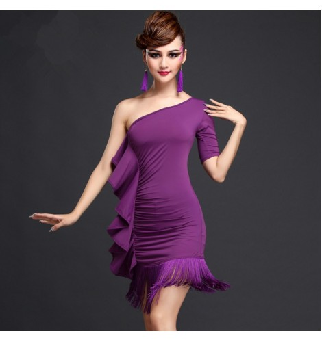 517615a52be7 ... violet one shoulder sleeves ruffles side fringes women's ladies female  competition performance professional latin salsa cha cha dance dresses  outfits