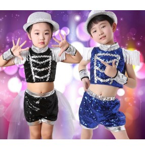 Black royal blue sequined tassels fringes boys girls child children jazz dance modern dance stage t show performance costumes