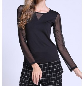 Black see through  sleeves and back  v neck women's ladies female long sleeves latin competition professional ballroom dance tops blouses