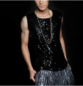 Black Sequins and spandex patchwork  fashion men's male stage performance party night club jazz ds singer hip hop dance tops vests