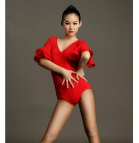 Black short ruffles sleeves v neck leotard competition gymnastics women's ladies female latin salsa cha cha dance leotard tops and bodysuits