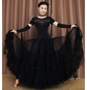 Black short sleeves with gloves rhinestones competition long length full skirted professional ballroom waltz tango dancing dresses outfits