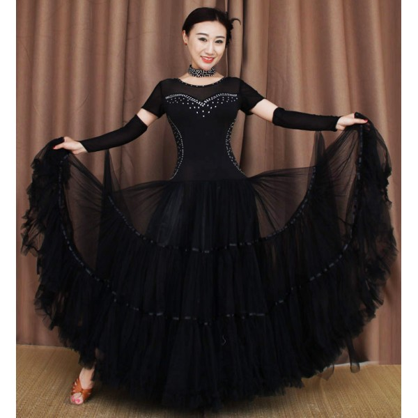 Black Short Sleeves With Gloves Rhinestones Compeion Long Length Full Skirted Professional Ballroom Waltz Tango Dancing Dresses Outfits