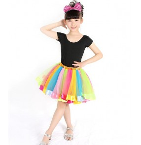 Black shorts sleeves tops rainbow striped skirts girls kids children performance school play competition latin salsa cha cha dancing dresses set outfits