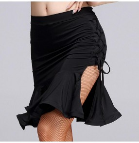 Black side split draw string ruffles hem women's ladies female competition performance leotards short length sexy latin salsa samba cha cha dance skirts