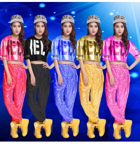 Black silver gold blue fuchsia hot pink sequins short sleeves fashion women's ladies hip hop jazz singer performance dance outfits costumes