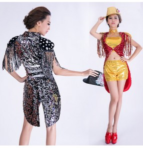 Black silver gold red sequins pu leather patchwork women's ladies female modern dance 2in1 tuxedo cos play singer jazz hip hop dancing dancing costumes outfits dresses