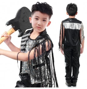Black silver patchwork leather boys kids children stage performance school play hip hop fringes cos play singer ds dj dance costumes outfits sets