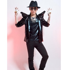 Black silver sequins shrug shoulder men's male mans performance  jazz hip hop singer drummer punk rock nigh club dar dance wear blazers short coats jackets