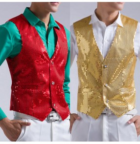 Black silver white gold red sequins paillette v neck men's male man stage performance jazz singer host wedding party dance vest waistcoat tops