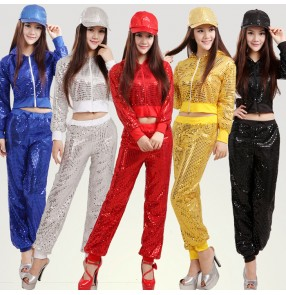 Black silver white gold yellow royal blue red sequins  women's girls long sleeves pants school play stage performance jazz dance hip hop dance costumes outfits dancewear