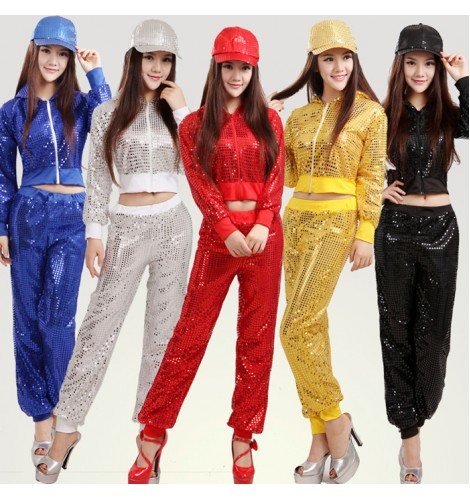 Gold Yellow Royal Blue Red Sequins Womens Girls Long Sleeves Pants School Play Stage Performance Jazz Dance Hip Hop Costumes Outfits Dancewear