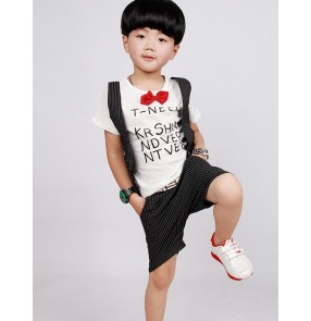 Black striped blue white patchwork boys toddlers baby child kids modern dance jazz hip hop dance costumes stage performance  outfits
