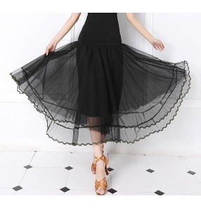 Black tulle cotton fabric women's long length ballroom tango waltz performance competition dancing dance skirts