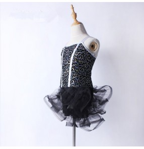 Black tulle sequin strap backless girls performance modern dance competition profesional  leotard latin dance dresses