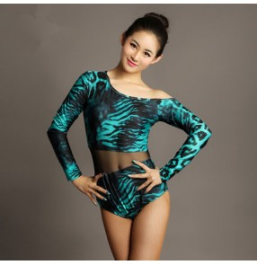 Black turquoise blue leopard printed inclined shoulder long sleeves see trough waist women's ladies latin ballroom dance leotards tops bodysuits
