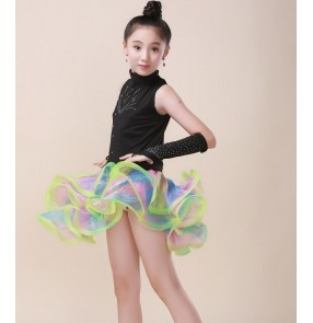 Black turtle neck rhinestones rainbow big ruffles skirt girls kids children competition stage performance latin ballroom dance dresses outfits costumes