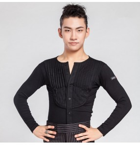 Black v neck long sleeves pleated front performance competition professional men's   man male ballroom  rhythm  chacha latin tango dance shirts tops