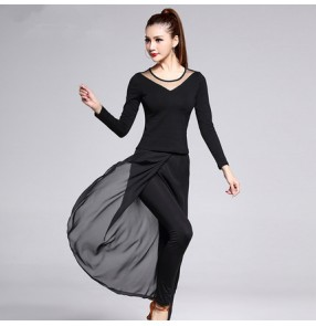 Black v neck long sleeves tops hip scarf long pants practice performance competition latin salsa cha cha dance dresses costumes outfits