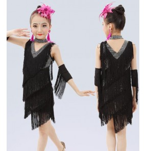 Black v neck sequins girls kids children performance fringes competition salsa cha cha latin dance dresses outfits