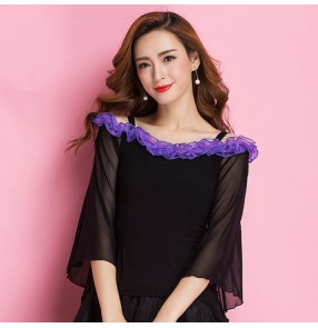Black violet patchwork ruffles neck loose sleeves women's ladies competition professional ballroom tango waltz latin dance tops