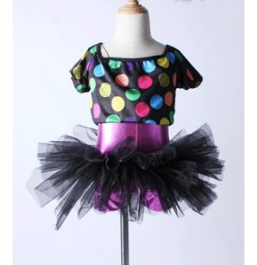 Black violet patchwork two pieces split set girls kids children performance competition professional leotard tutu ballet dance dresses outfits