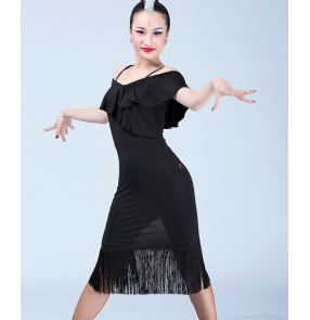Black white floral ruffles neck dew shoulder competition performance latin salsa cha cha dance dresses