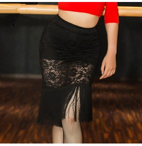Black white lace fringes women's ladies female competition performance leotard latin dance skirts