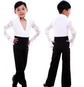 Black white lace sleeves rhinestones v neck collar boys kids children baby competition  school play performance professional latin ballroom tango dance dancing  sets ourfits