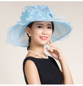 Black white light blue turquoise organza large brim floppy handmade women's female fashion wedding dresses evening party bridal church hats sun hats  fedoras for ladies