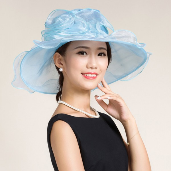 118ef5aa Black white light blue turquoise organza large brim floppy handmade women's  female fashion wedding dresses evening party bridal church hats sun hats  fedoras ...