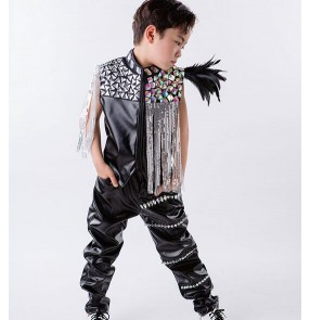 Black white sequins rhinestones leather fringes boys kids children drummer school play hip hop jazz stage performance costumes outfits